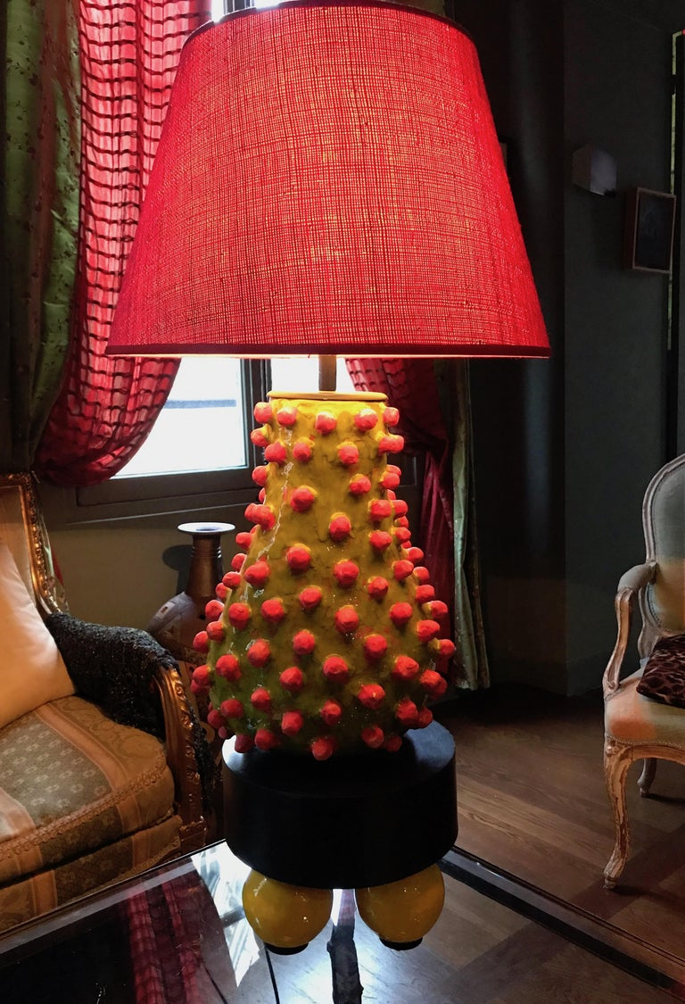 Ceramic Alice Gavalet, Unique Large Table Lamp, Loulou, 2015 For Sale