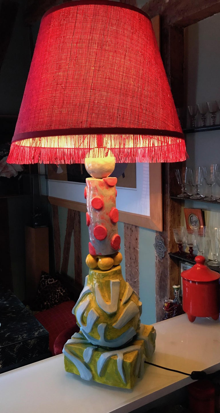 Ceramic Alice Gavalet Unique Large Table Lamp, Milonga, 2015 For Sale