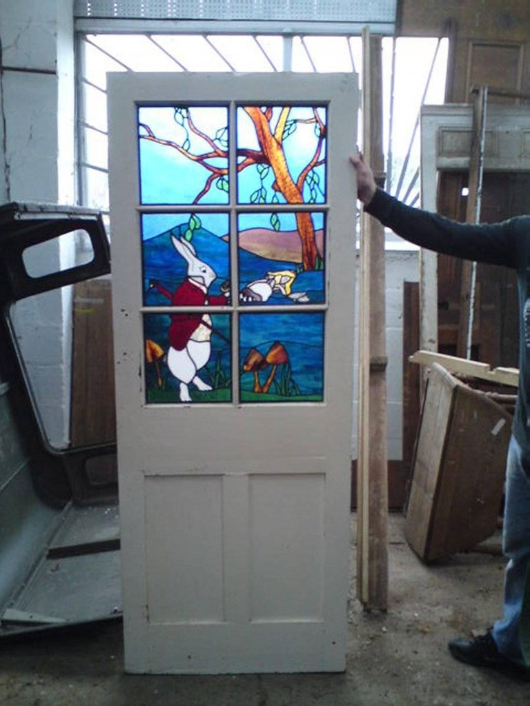 Alice in Wonderland, A Five Piece Suite of Stained and Leaded Glass Doors. For Sale 3