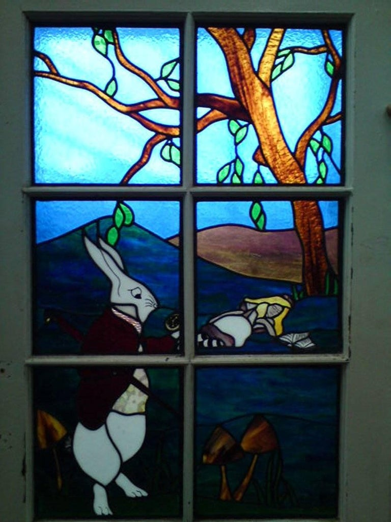 Alice in Wonderland, A Five Piece Suite of Stained and Leaded Glass Doors. For Sale 5