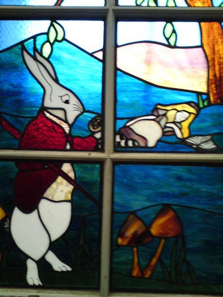 Alice in Wonderland, A Five Piece Suite of Stained and Leaded Glass Doors. For Sale 6