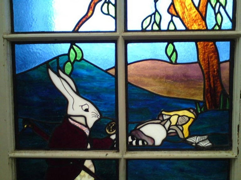 Alice in Wonderland, A Five Piece Suite of Stained and Leaded Glass Doors. For Sale 7