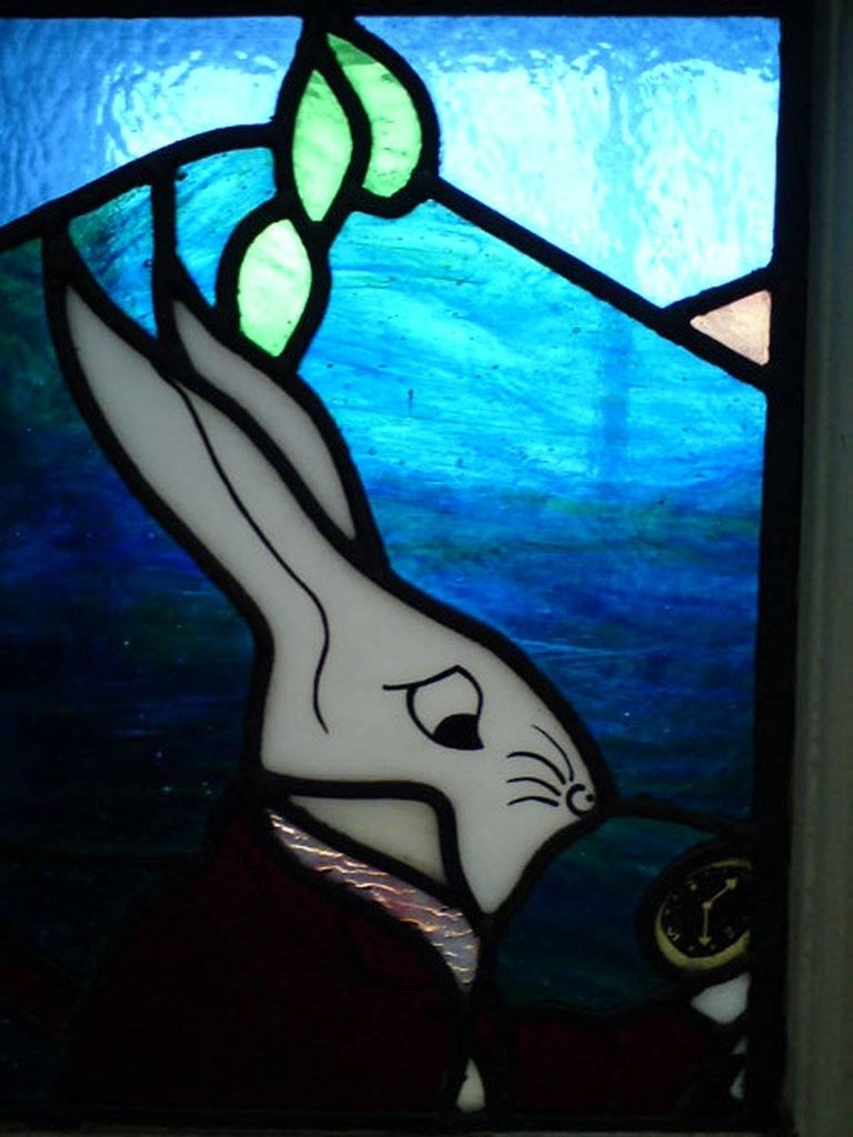 Alice in Wonderland, A Five Piece Suite of Stained and Leaded Glass Doors. For Sale 8