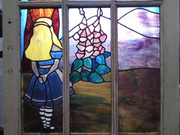 20th Century Alice in Wonderland, A Five Piece Suite of Stained and Leaded Glass Doors. For Sale