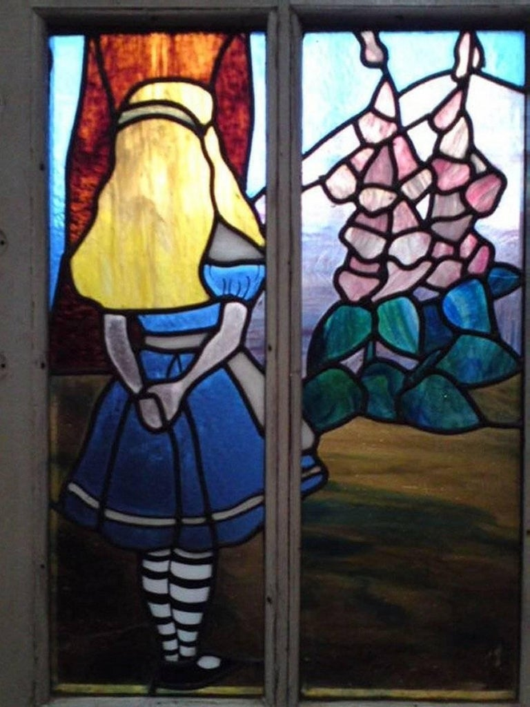 Stained Glass Alice in Wonderland, A Five Piece Suite of Stained and Leaded Glass Doors. For Sale