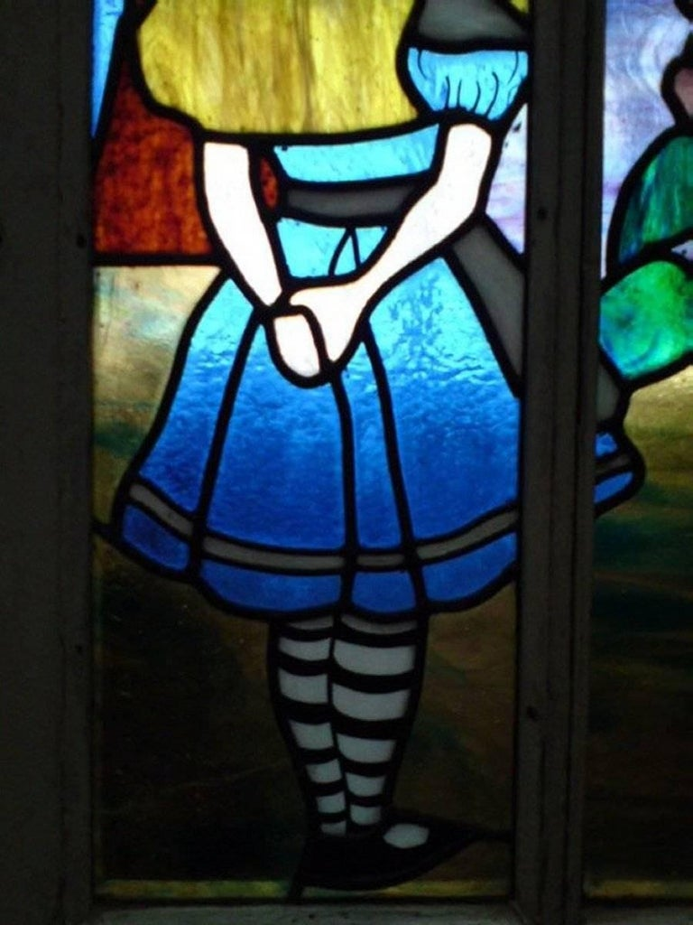 Alice in Wonderland, A Five Piece Suite of Stained and Leaded Glass Doors. For Sale 1
