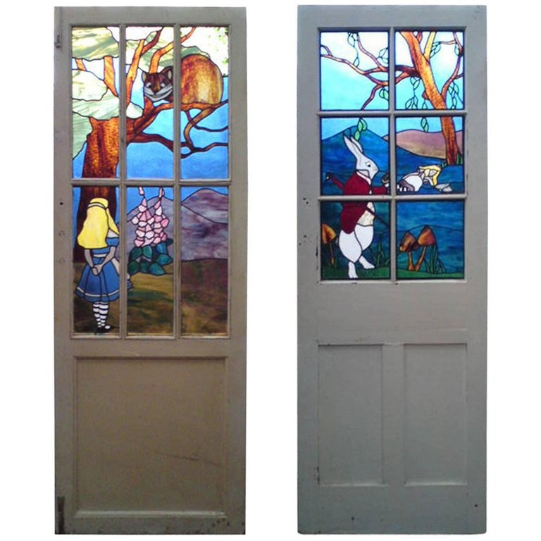 Alice in Wonderland, A Five Piece Suite of Stained and Leaded Glass Doors. For Sale