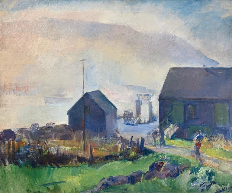 Fog, Impressionist Landscape on Monhegan Island, Maine, 1930, Oil on Canvas - Painting by Alice Kent Stoddard