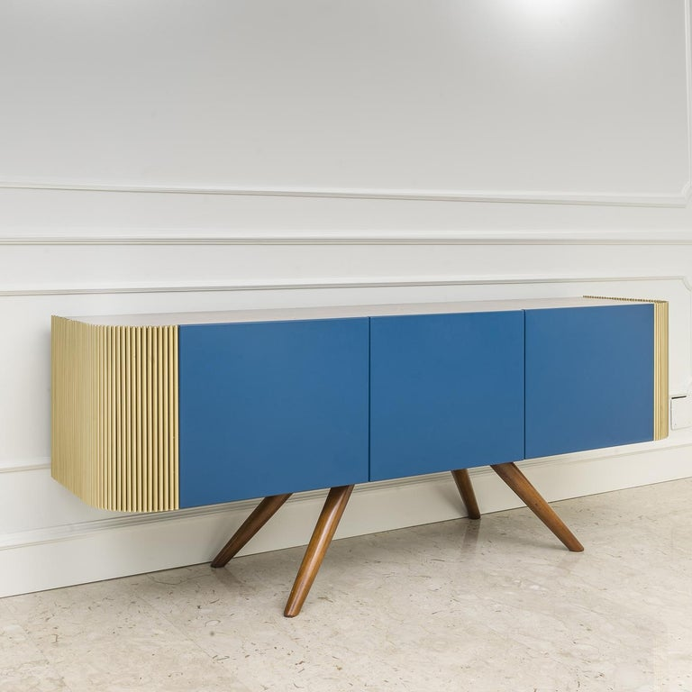 Contemporary Alice Low Sideboard Blue For Sale