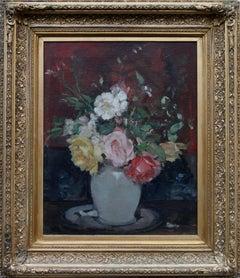 Arrangement of Roses - British 1940's Impressionist oil painting female artist