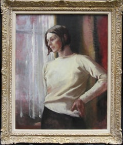 Contemplation - British 50s art female portrait oil painting female artist