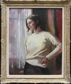 Contemplation - British 50s art female portrait oil painting female artist