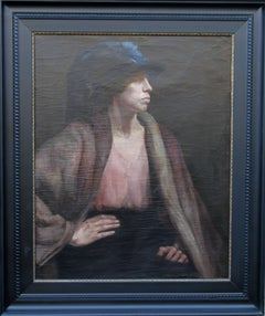 Gypsy Woman - British 30's art exhibited portrait oil painting female artist