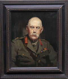 Portrait of Soldier -British 30s art oil painting Army officer military uniform