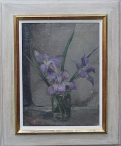 Purple Iris Floral Arrangement - British art 40s still life flower oil painting