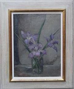 Purple Iris Floral Arrangement - British art 40s still life flower oil painting