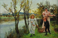 Family Collecting Autumn Apple Windfalls. Victorian Female Artist. Original Oil.