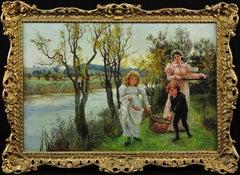 Family Collecting Autumn Apple Windfalls. Victorian Female Artist. Original Oil.