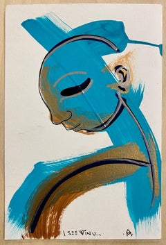 I See Love in U, Gold and Teal acrylic, chrome ink on paper by Alice Mizrachi