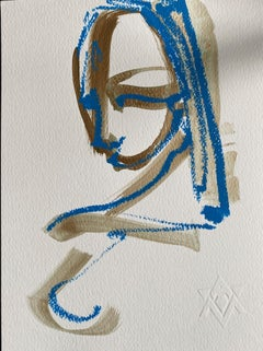 My Beauty is a Reflection of U, acrylic, oil pastel on paper by Alice Mizrachi