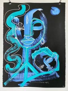 """You're Magic"" Mixed media on black Stonehenge paper by Alice Mizrachi"