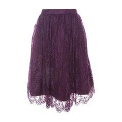Alice + Olivia Amethyst Purple Lace Overlay Perkins Pouf Skirt M