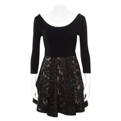 Alice + Olivia Black Embroidered Lace Skirt Detail Scoop Neck Amie Dress S