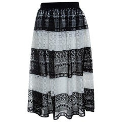 Alice + Olivia Black Floral Embroidered Stripe Detail Birdie Skirt XS