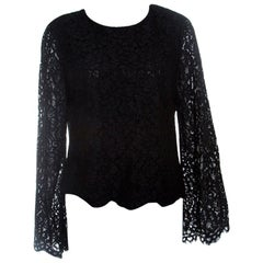 Alice + Olivia Black Floral Lace Bell Sleeve Pasha Crop Top L