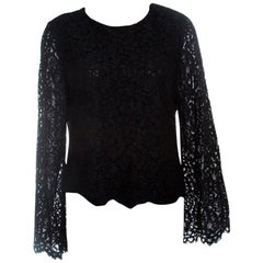 Alice + Olivia Black Floral Lace Bell Sleeve Pasha Crop Top M