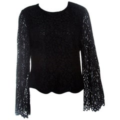 Alice + Olivia Black Floral Lace Bell Sleeve Pasha Crop Top S