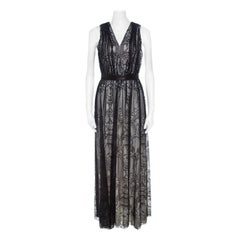 Alice + Olivia Black Lace Leather Trim Sleeveless Sybil Maxi Dress S