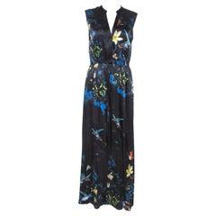 Alice + Olivia Black Silk Marianna Enchanted Forest Maxi Dress M