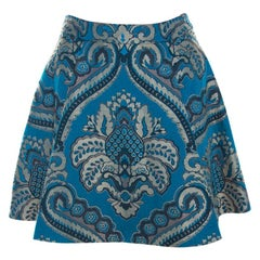 Alice + Olivia Blue Damask Patterned Brocade Vernon Mini Skirt XS