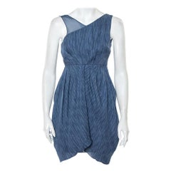 Alice + Olivia Blue Silk Asymmetric Draped Sleeveless Dress S