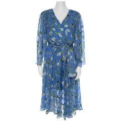 Alice + Olivia Cerulean Blue Floral Satin Devoré Belted Halsey Dress M