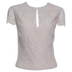 Alice + Olivia Champagne Floral Lace Cap Sleeve Marita Bodysuit M