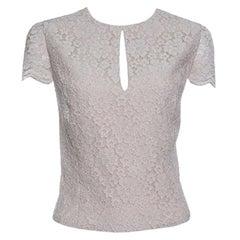 Alice + Olivia Champagne Floral Lace Cap Sleeve Marita Bodysuit S