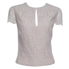 Alice + Olivia Champagne Floral Lace Cap Sleeve Marita Bodysuit XL