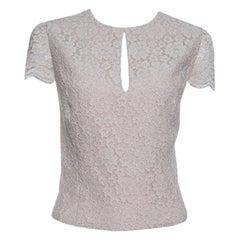 Alice + Olivia Champagne Floral Lace Cap Sleeve Marita Bodysuit XS