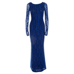 Alice + Olivia Cobalt Blue Lace Long Sleeve Flared Maryanna Maxi Dress XS