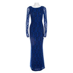 Alice + Olivia Cobalt Blue Lace Long Sleeve Flared Maryanna Maxi Dress XS