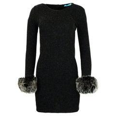Alice + Olivia Grey Wool Dress w/ Fox Trim Sleeves sz Small