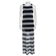 Alice + Olivia Monochrome Striped Crochet Lace Sleeveless Lucia Maxi Dress L