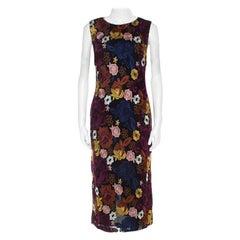 Alice + Olivia Multicolor Floral Embroidered Lace Nat Midi Dress L