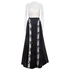 Alice + Olivia Pearl and Black Satin Strapless Corset Bodice Dayla Gown XS