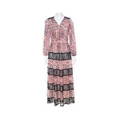 Alice + Olivia Red Bohemian Paisley Print Chiffon Daren Maxi Dress S