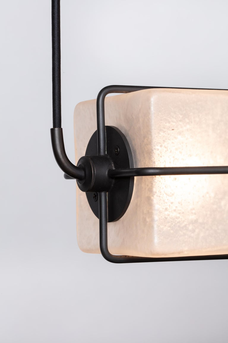 American Alice Pendant Hanging Fixture Handblown Glass Cubes in Solid Brass Blackened For Sale