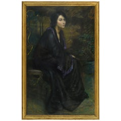 Alice Pike Barney 'The Golden Chair' Pastel on Canvas Portrait