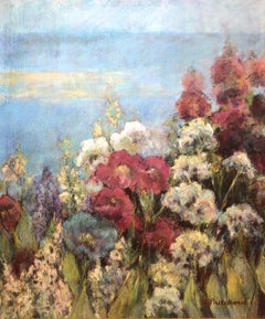 Seaside Garden With Flowers American Woman Artist Alice Pritchard
